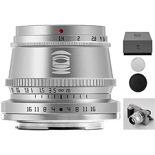 TTArtisan 35mm F1.4 Objektiv APS-C MF Kameraobjektiv kompatibel mit MacroM43 Mount Kameras EPM1 EPM2 EPL1 E-P1 E-P2 E-M1 E-M5 E-M10 E-M10II E-M10IIl Pen-F G7 & mehr (M4/3 Mount Silver)