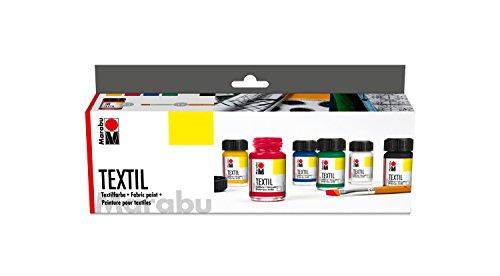 Marabu 1716000000087 - Textil Starter Set Grundfarben, Stoffmalfarbe, Wasserbasis, für helle Stoffe, weicher Griff, waschbeständig bis 60°C, für Stoffmalerei und -druck, 6 x 15 ml Farbe und Pinsel