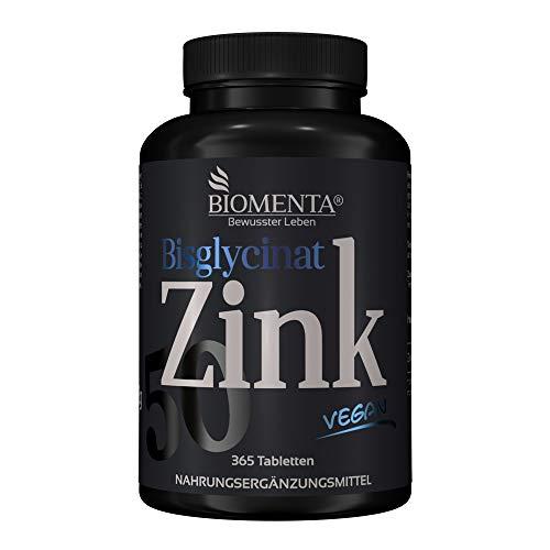 BIOMENTA Zink 50 mg – vegan - Zink Bisglycinat hochdosiert mit 25 mg Zink je ½ Tablette - 365 Zink-Tabletten