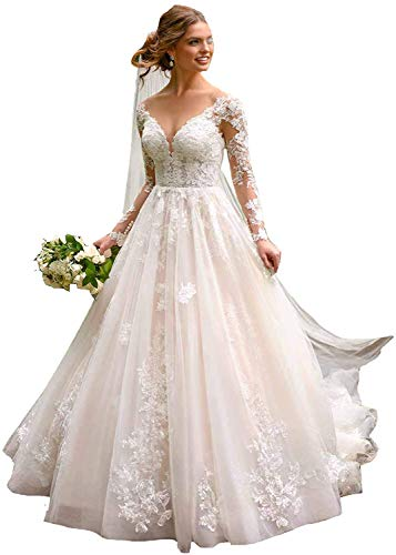 Meganbridal Women's V-Neck Long Sleeves Ball Gown Wedding Dresses with Lace Applique Train Bridal for Bride White Ivory
