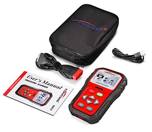 OBD2 Diagnostic,Fehlerauslesegerät kfz,12V Digital Batterie Tester Universal USB Kabel Fehler-Code KFZ Auslesegerät Diagnose Scanner für alle OBD II Protokoll Auto Fahrzeuge Rot schwarz