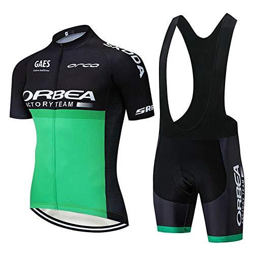 STEPANZU Maillot Ciclismo Hombre MTB Maillot + Pantalones Cortos Transpirable Conjunto de Ropa de Ciclismo para Bicicletas Montaña