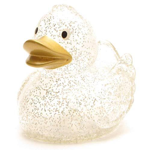 Duckshop I Glitzer Quietscheentchen mit goldenem Schnabel I Badeente I L: 7,5 cm I inkl. Badeenten-Schlüsselanhänger im Set