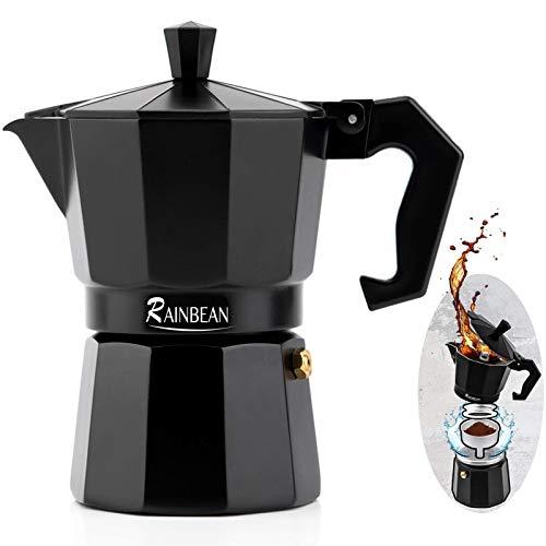 RAINBEAN Espresso Maker, Italian Stove Top Coffee Maker Moka Pot 3 Cup, Cafetiera Percolator For Coffee Latte Mocha Cappuccino Macchiato Cuban Cafe Makers, Black