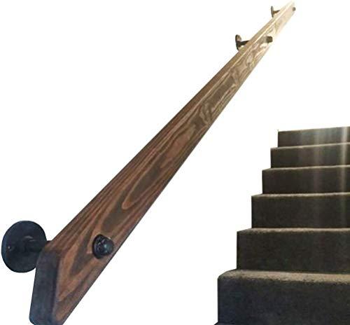 YANGSANJIN Barandilla de la Escalera barandilla pasamanos de escaleras, pasamanos de Madera Maciza Baranda, Pino Antideslizante Loft Seguridad Barandilla, pasamanos Soportes, contra la Pared