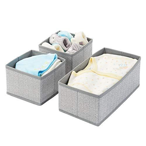 mDesign Juego de 3 cajas organizadoras – Cestas de tela transpirables con diseño de espiga para pañales, baberos, etc. – Versátiles organizadores de cajones para habitación infantil – gris