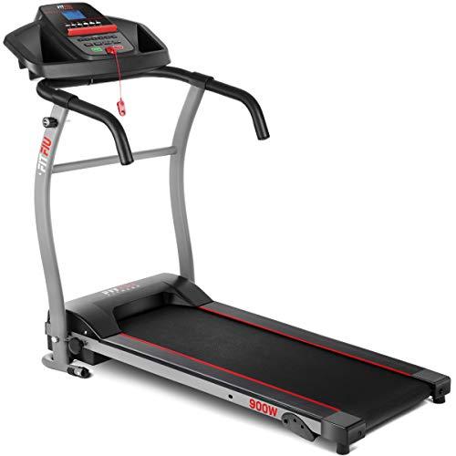 Fitfiu Fitness MC-100 - Cinta de correr plegable con velocidad ajustable hasta 10 km/h, inclinación manual, superficie de carrera de 31 x 102 cm, motor de 900W y pantalla LCD
