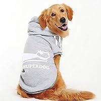 犬の服 大きな犬の秋と冬の服 中型および大型犬 ゴールデンレトリーバーハスキーサモエド ペット服 Gray XL