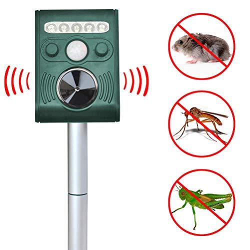 Rapoyo Katzenschreck Tiervertreiber Ultraschall, 5 Modus einstellbar Solar Tierschreck Wasserdicht Abwehr, Ultraschallvertreiber Tiervertreiber für Katzen, Hunde, Wildtiere