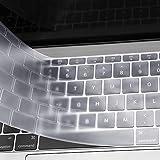 MOSISO AZERTY Protection Clavier Compatible avec MacBook Pro 13 Pouces A1708 sans Touch Bar 2017/2016/MacBook 12 Pouces A1534 Protège Clavier Ultra Slim EU Disposition, TPU Transparant/Clair