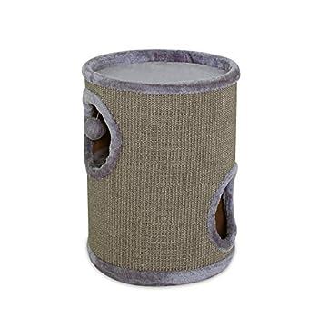 dibea KT00930, Tonneau griffoir/Arbre à Chats, Colonne avec sisal pour gratter et Plateau avec Peluche