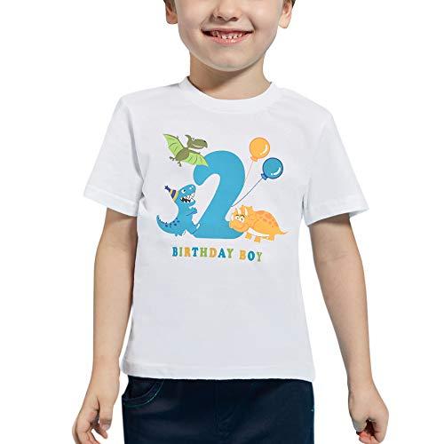 AMZTM 2 Años Dinosaurio Camiseta de Manga Corta Cumpleaños Bebé Niño Cumpleaño Manga Corta Tops 2do 100% Algodón Blanca Dino Impreso Tops T Shirt (Blanca, 2 Años-90)