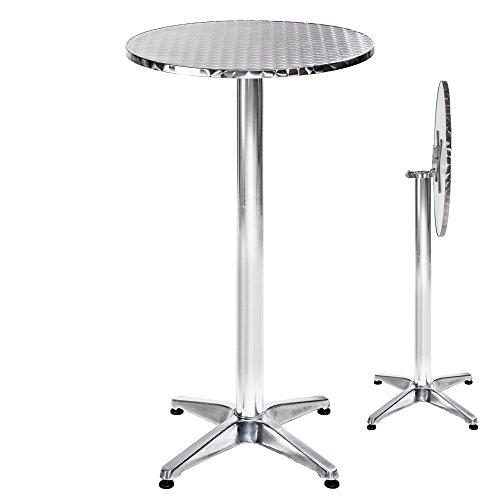 TecTake Mesa de bar bistró de aluminio altura ajustable 74 o 114 cm plegable - Diámetro de la pata: 6,5 cm - 8,6 kg - varios modelos - ('Alexander' plegable | No. 401491)