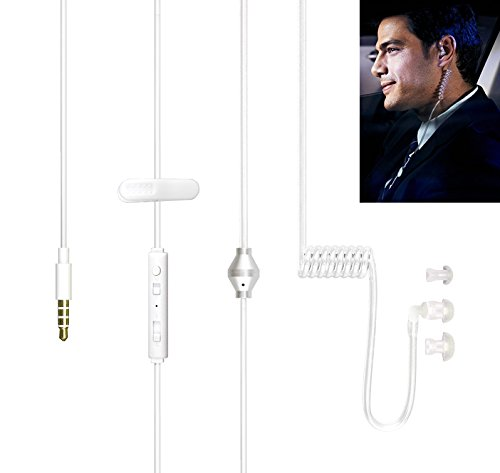 Universal 3.5mm Jack Acoustic Hollow Air Tube Anti-Radiation Earphone Xfox Earpiece with on Off Answer Switch Compatible with iPhone Samsung LG Moto Lenovo ZTE Huawie BlackBerry and All Cellphones