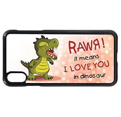 sticker licker Grappig Schattig Rawr Betekent Ik hou van je In Dinosaur Slogan Cartoon Ontwerp Mobiele Telefoon Case To Fit iPhone XS Max, Black Rim