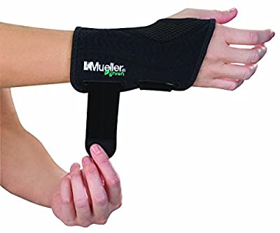 MUELLER Green Fitted Wrist Brace, Black, Right Hand, Large/Extra Large (86273)
