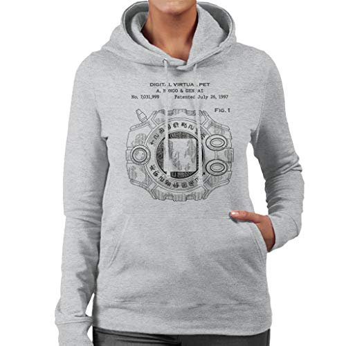 Cloud City 7 Digimon Digital Virtual Pet Patent Women's Hooded Sweatshirt