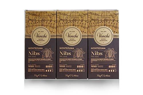 Venchi Kit Tavolette Montezuma 75% Nibs- Cioccolato Fondente 75% da Sud America con Croccante Fave di Cacao- senza Glutine- 210 Grammi- Set di 3