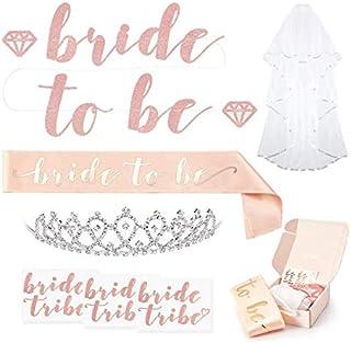 Rose Gold Pink Bachelorette Party Decorations Kit - Bridal Shower Supplies | Bride to Be Sash, Rhinestone Tiara, Pre-Strun...