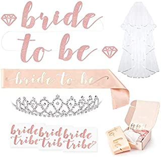 Rose Gold Pink Bachelorette Party Decorations Kit - Bridal Shower Supplies | Bride to Be Sash, Rhinestone Tiara, Pre-Strung Banner, Veil + Bride Tribe Flash Tattoos