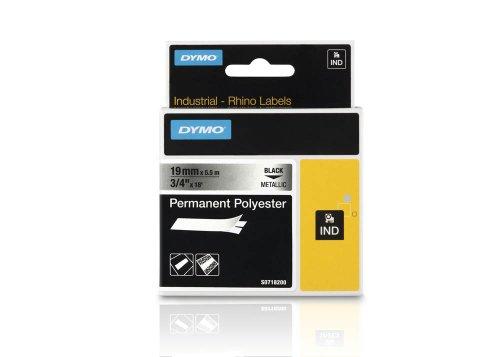 DYMO Beschriftungsband RHINO 18487 / 19 mm / Druck schwarz / Band metallisiert / für DYMO Rhino 4200/5200/6000, ILP, RhinoPro 5000