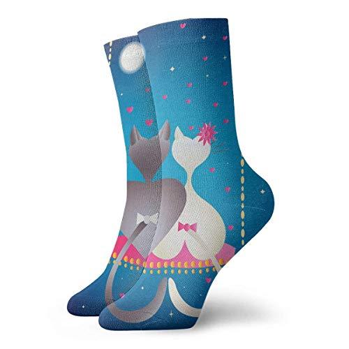 NGMADOIAN grappige gekke Crew sok mannelijke kat en pussycat 's nachts bedrukte sport atletische sokken 30cm lang gepersonaliseerde cadeausokken