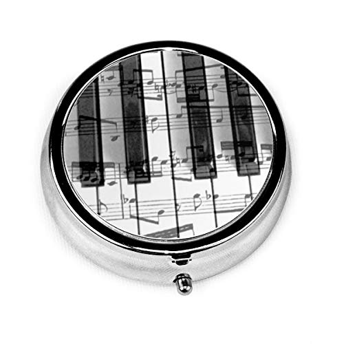 Music Piano Keyboard Design Pill Case Pocket Round Stainless Medicine Tablet Pill Case for Man Small Compact 3 Compartment Pill Box for Travelling Black One Size