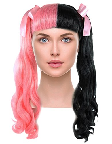 Long Curly Ponytail Wig with Bangs Pink Black Hairpiece w/Ribbon Bows for Pop Singer Cosplay Halloween Costume Party