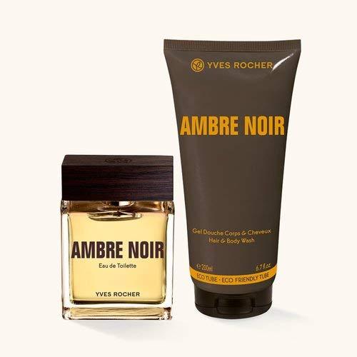 Yves Rocher AMBRE NOIR Duft-Set, Geschenk-Set bestehend aus Eau de Toilette & Dusch-Shampoo, sinnlich-eleganter Duft, Valentinstag Geschenkidee für Männer