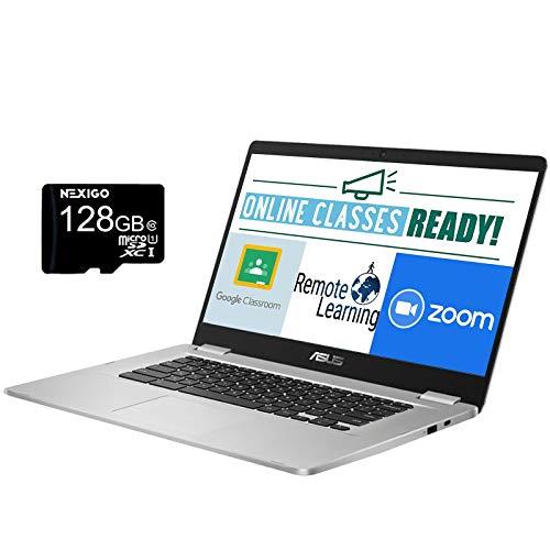 2020 ASUS Chromebook 15.6 Inch Laptop, Intel Celeron N3350 up to 2.4 GHz, 4GB LPDDR4 RAM, 64GB eMMC, WiFi, Bluetooth, Webcam, Silver, Chrome OS + NexiGo 128GB MicroSD Card Bundle