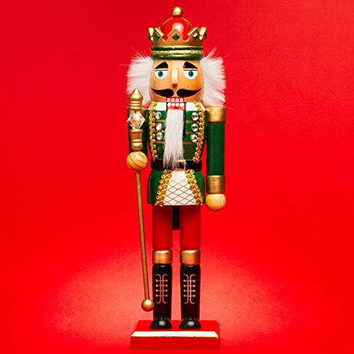 Sikora NK-D aufwändig gestaltete Deko Nussknacker Figur aus Holz, Farbe/Modell:D01 grün/rot - KÖNIG, Größe:Höhe ca. 36 cm