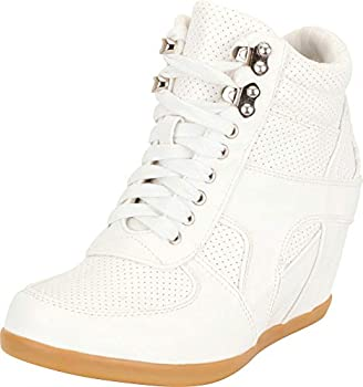 Cambridge Select Women s High Top Perforated Lace-Up Chunky Mid Hidden Wedge Fashion Sneaker,7.5 B M  US,White PU