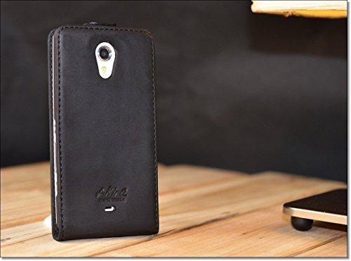 URCOVER Custodia portafoglio Xperia T   Protettiva Akira Fatta a Mano   Wallet Case Flip Cover in Vera Pelle nero   Cuoio Artigianale Elegante Business Premium