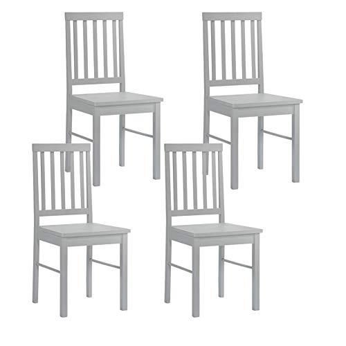 GOLDFAN 4er Set Stuhl Holz Esszimmerstühle Küchenstuhl 4 Natur Oak 42x46x90cm Grau