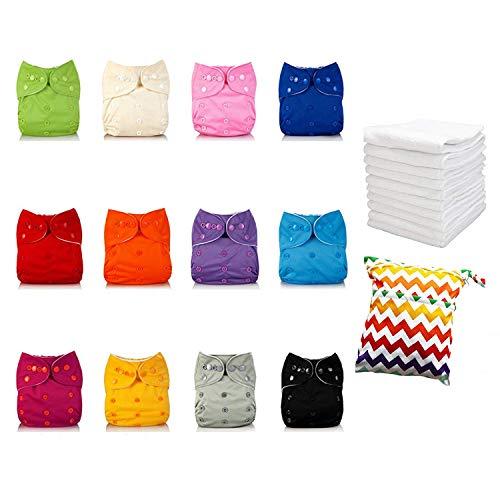 IMMIGOO® set met 25 babyschalen (3-13 kg), verstelbaar + 12 inzetstukken + 1 draagtas, eenheidsmaat, van nanometer-microvezel, waterdicht, herbruikbaar