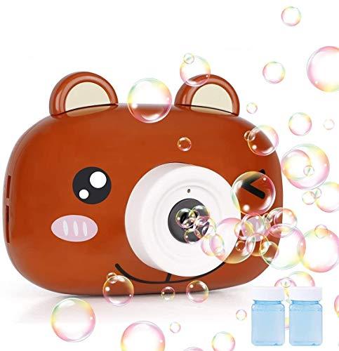 Seamuing Máquina automática de Burbujas de música, soplador de Burbujas portátil para niños y niñas, Juguete Divertido para el baño para Interiores y Exteriores (marrón)