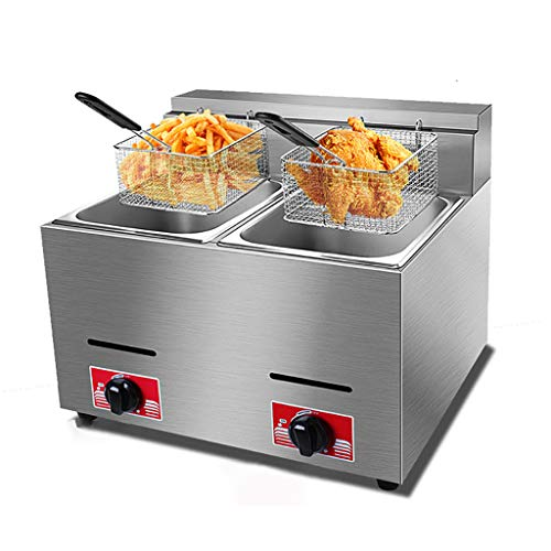 Freidora de gas 10L / 20L, freidora de chips, freidoras de grasa profunda para el hogar, sartén comercial, máquina de papas fritas, freidora de cilindro de alas de pollo