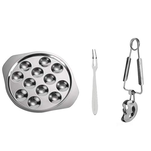 DOITOOL Escargot Dish Stainless Steel Snail Escargot Plate 12 Holes with Escargot Tongs and Escargot Forks for Home Hotel Restaurant Tableware