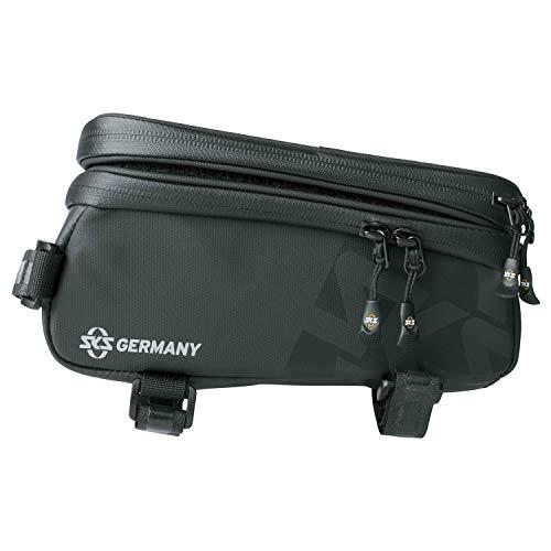 SKS GERMANY Explorer SMART Fahrradtasche, Fahrradzubehör (Rahmentasche aus gummiertem, wasserabweisendem Gewebe, inkl. abnehmbarem Smartphonefach, Touchscreen kompatibel, Volumen: 1,35 l), schwarz