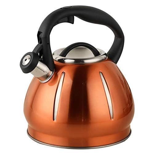 tea kettle Bouilloire à thé 3L, théière sifflant en Acier Inoxydable avec poignée résistante à la Chaleur, Convient au café et au Lait brassés (Couleur : Champagne Gold)
