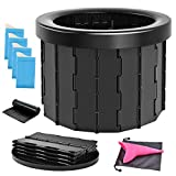 Portable Folding Toilet for Camping, Porta Potty Car Toilet for Adults, Outdoor Commode Toilet Seat, Foldable Travel Potty Bucket, Portable Potty for Camp, Hiking, Boating, Trip, Traffic jam, Elderly