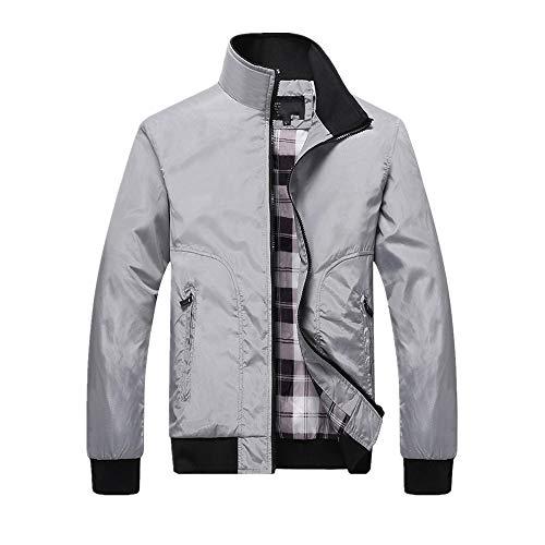 Otoño Casual Abrigos Color Sólido Patchwork Stand Collar Slim Zipper Chaquetas Bomber Masculino Outwear