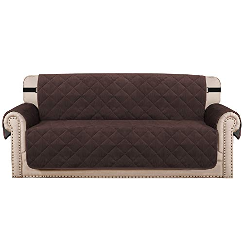 H.VERSAILTEX Sofa Cover Quilted Thick Velvet Plush Couch Cover for 3 Cushion Sofa Slipcover Protector from Pets Dogs, Non-Slip Two Elastic Straps on Back and Base (Sofa 70', Brown)