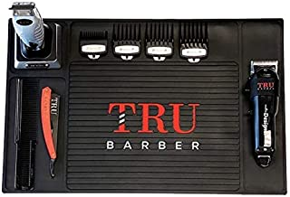 """تشک TRU BARBER Organizer Mat 19 """"X 13"""" (BLACK) انعطاف پذیر ایستگاه PVC ، پد ایستگاه کار آرایشگاه ، آرایشگاه ، ابزار سالن زیبایی ، تشک شمارنده برای کلیپرز ، ضد لغزش"""