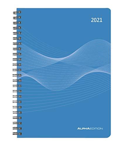 Alpha Edition - Agenda Settimanale Spiralata 2021, Formato Grande 15x21 cm, Blu, 128 Pagine