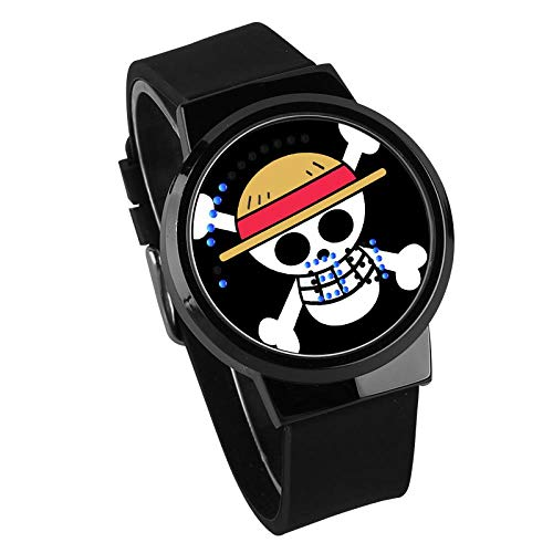 Relojes Hombre,Personalidad Pantalla Táctil Creativa Led Reloj One Piece Anime Rodeando Reloj Electrónico Luminoso Impermeable A