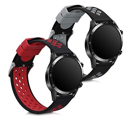 kwmobile 2X Pulsera Compatible con Huawei Watch GT2 (46mm) - Brazalete de Silicona Negro/Rojo/Negro sin Fitness Tracker