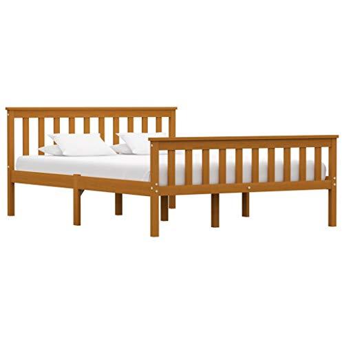 vidaXL Madera Maciza de Pino Estructura de Cama Matrimonio Doble Marrón Miel140x200 cm Somier Muebles de Dormitorio Habitación