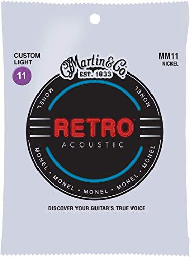 Martin Retro Acoustic Guitar Strings - .011-.052 Custom Light (MM11)