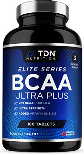 BCAA Tablets - Ultra Strength 1407mg - 180 Tablets Massive 3 Months Supply - Elite 2:1:1 Branched Chain Amino Acids Enhanced with Vitamins B6 & B12 - Premium UK Made Supplement by TDN Nutrition